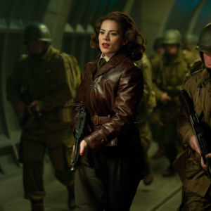 Hayley Atwell, center, plays Peggy Carter in CAPTAIN AMERICA: THE FIRST AVENGER, from Paramount Pictures and Marvel Entertainment.